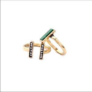 2 piece set • emerald rings